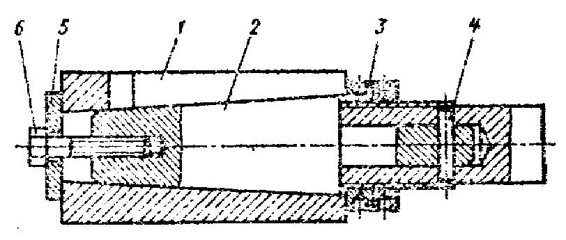 1 — притир, 2-оправка, 3 — регулируемая гайка, 4 — штифт, 5 — шайба, в — болт Для до¬водки отверстий диаметром более 20 мм.
